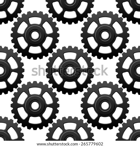 Technology geometric seamless pattern with gray gear wheels or cogwheels on white background suited for mechanical or engineering design - stock vector