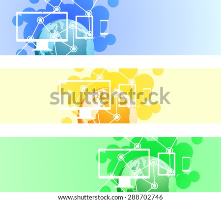 Technology global connection theme vector web banner design containing The Earth, desktop computer, tablet and a smart phone. - stock vector