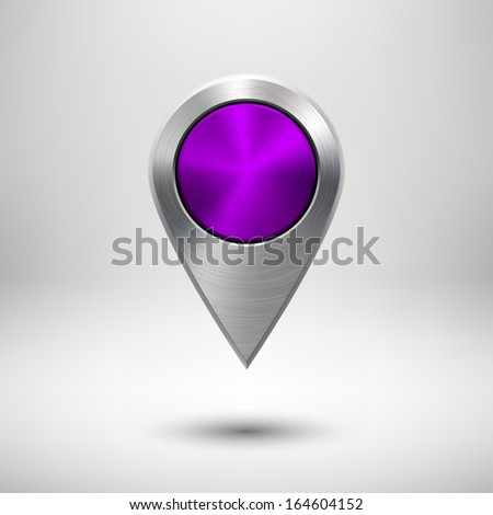 Technology gps map pointer, button template with purple (violet) metal texture (chrome, silver, steel), realistic shadow and light background for user interfaces (UI) and applications (apps). - stock vector