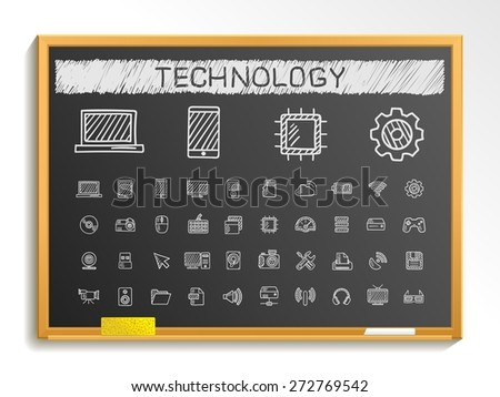 Technology hand drawing line icons. Vector doodle pictogram set: chalk sketch sign illustration on blackboard with hatch symbols: network, digital, internet, computer, laptop, social media, cloud - stock vector