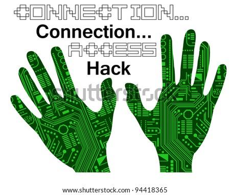 Technology hands - stock vector