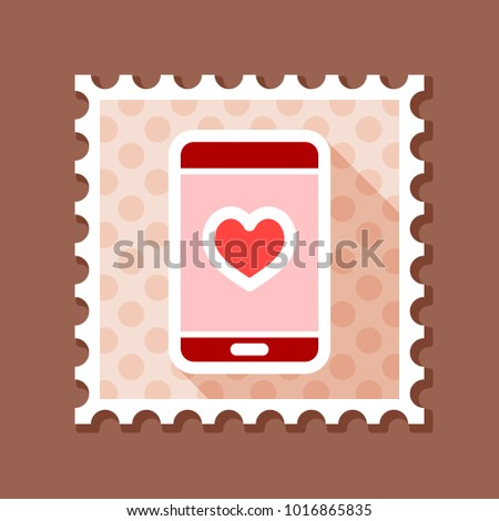 Technology Heart Smartphone Mobile Phone Romantic Telephone Call Valentines Day Stamp Doodle Decoration