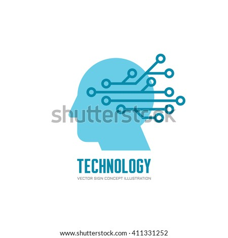Technology - human head and electronic network - vector logo concept illustration. Digital chip human vector logo. - stock vector