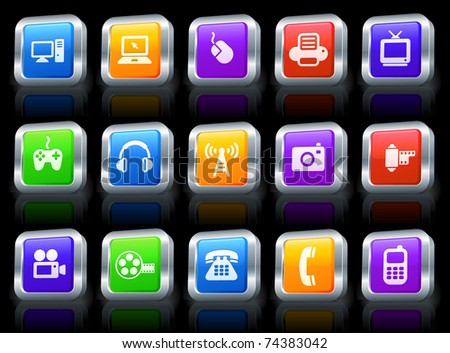 Technology Icon on Square Button with Metallic Rim Collection Original Illustration - stock vector