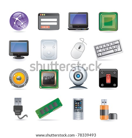 technology icon set - stock vector