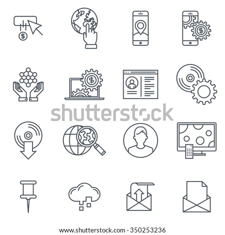 Technology icon set suitable for info graphics, websites and print media. Black and white flat line icons. - stock vector
