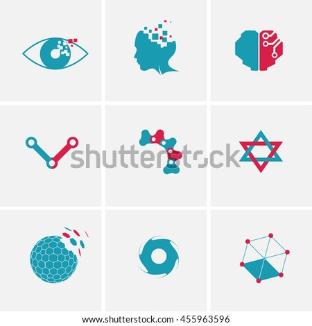 technology icon set, vector icon, abstract science icon,  - stock vector