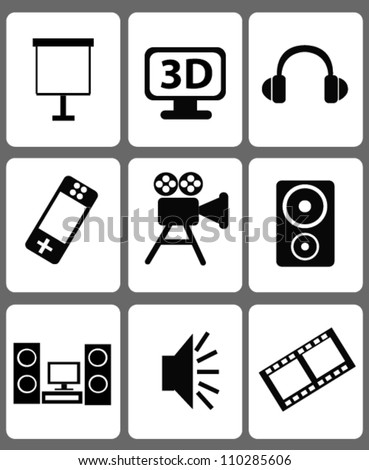 Technology icon sets,Black and white,Vector