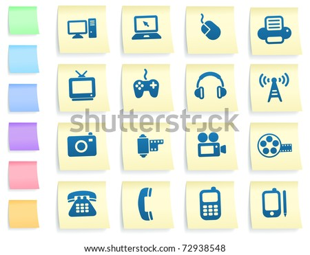 Technology Icons on Post It Note Paper Collection Original Illustration - stock vector
