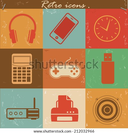 Technology icons,retro vector - stock vector