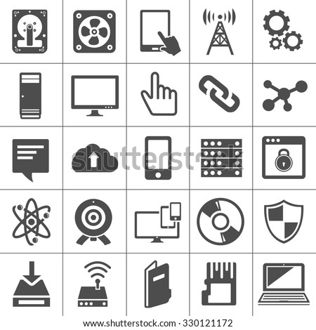 technology icons set Computer, Network devices and connections - stock vector