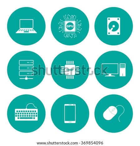 Technology Icons Set. Flat design style eps 10 - stock vector