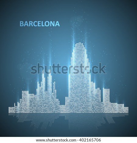 Technology image of Barcelona. The concept vector illustration eps10 - stock vector