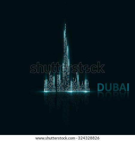 Technology image of Dubai. The concept vector illustration eps10 - stock vector