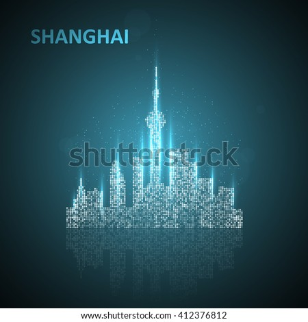 Technology image of Shanghai. The concept vector illustration eps10 - stock vector