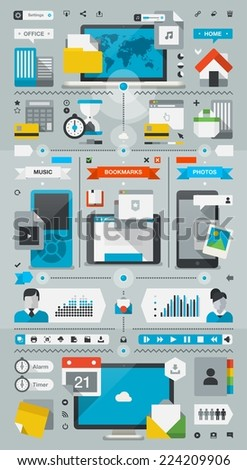 Technology infographic background with colorful flat style vector icons - stock vector