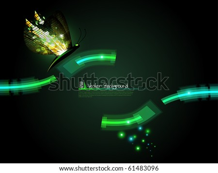 Technology lines with mosaic butterfly background. Vector illustration. - stock vector
