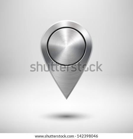 Technology map pointer (button, badge) template with metal texture (chrome, silver, steel), realistic shadow and light background for user interfaces (UI), applications (apps) and presentations. - stock vector