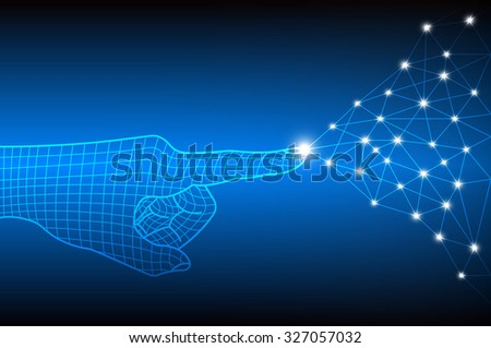 Technology of network connection and communication concept with finger touch, Vector illustration - stock vector