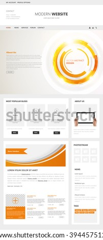 Technology One Page Clean Website Template Vector Eps10, Modern Web Design with flat UI elements and abstract header. Ideal for Business layout.  - stock vector
