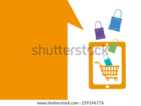 Technology placeholder with themes about handheld device features Set 4. Online Shopping and Retail Theme. Editable EPS10 Vector  and jpg Illustration ideal as advertising and promotional template.  - stock vector