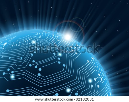 Technology planet. Vector illustration. . - stock vector