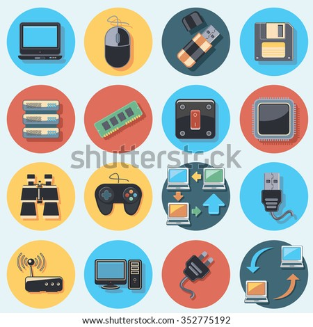 technology set - stock vector