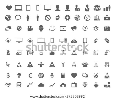 Technology set of flat icons. Vector flat design illustration.  - stock vector