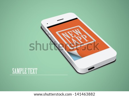 Technology Template. White Touchscreen Phone on Green Background. - stock vector