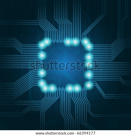 Technology theme vector background with empty space in the center for your text. Eps 10 format. - stock vector