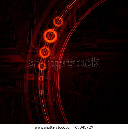 Technology theme vector banner with detailed circuit pattern and space for text.