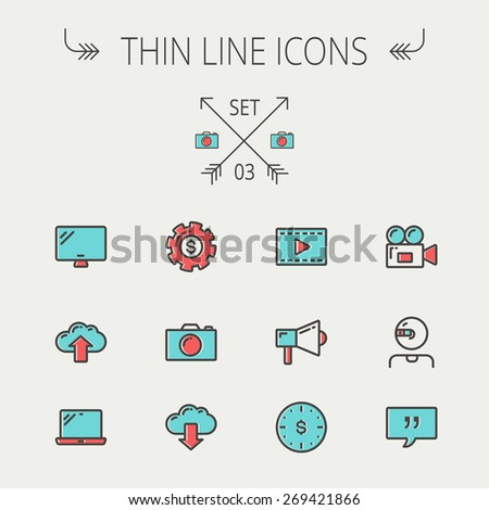 Technology thin line icon set for web and mobile. Set includes - laptop, monitor,video camera, megaphone, web camera, gear, camera, clouds up and down. Modern minimalistic flat design. Vector icon - stock vector