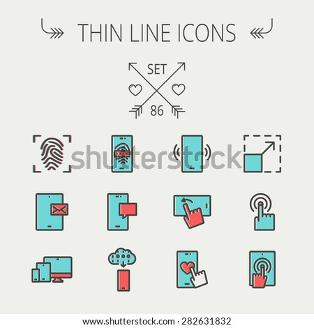 Technology thin line icon set for web and mobile. Set includes - mobiles icons, fingerprint, wireless gadgets icons. Modern minimalistic flat design. Vector icon with dark grey outline and offset - stock vector