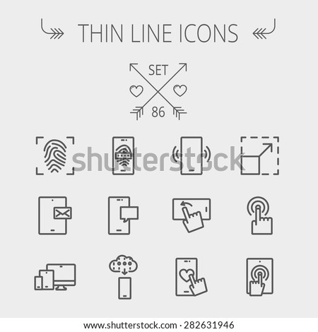 Technology thin line icon set for web and mobile. Set includes- mobiles icons, fingerprint, wireless gadgets icons. Modern minimalistic flat design. Vector dark grey icon on light grey background. - stock vector