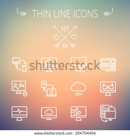 Technology thin line icon set for web and mobile. Set includes monitors, smartphone, cloud, mouse, wifi, gear, speaker. Modern minimalistic flat design. Vector white icon on gradient  mesh background. - stock vector
