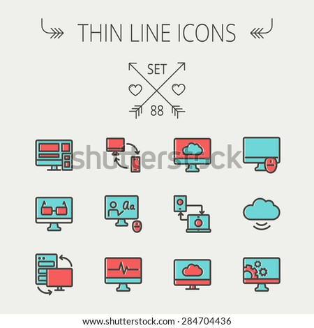 Technology thin line icon set for web and mobile. Set includes monitors, smartphone, cloud, mouse, wifi, gear, speaker. Modern minimalistic flat design. Vector icon with dark grey outline and offset - stock vector