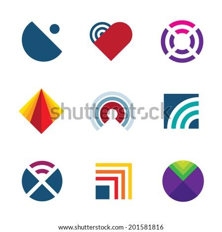 Technology transmitting signal wave oscillation radio frequency logo icon set - stock vector