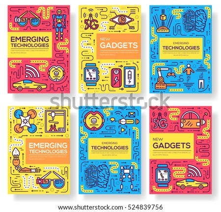 Technology vector brochure cards thin line set. Automation  template of flyear, magazines, posters, book cover, banners. Layout artificial intelligence tech outline illustrations modern pages