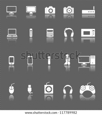 technology web icons set with reflections on dark background. computer and electronic devices - stock vector