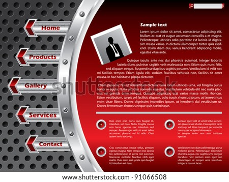 Technology website template with industrial metallic elements - stock vector