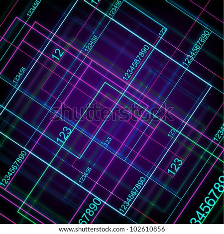 Technology With Digital Numbers. Jpeg Version Also Available In Gallery. - stock vector