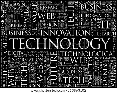 Technology word cloud, business concept background - stock vector