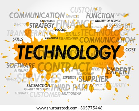 Technology words cloud, business concept - stock vector