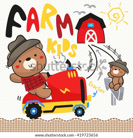 Teddy bear and his brother driving a tractor in a field, illustration vector. - stock vector
