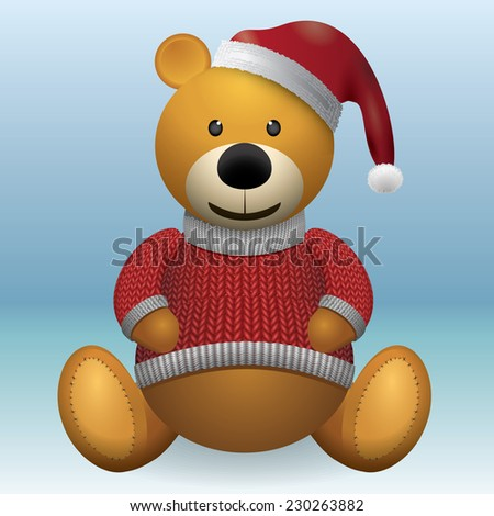 Teddy bear brown Christmas red sweater and red hat - stock vector
