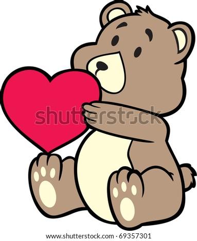 teddy bear carrying heart - stock vector