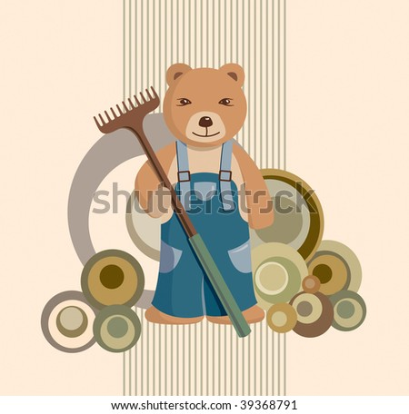 Teddy Bear Farmer Background - stock vector