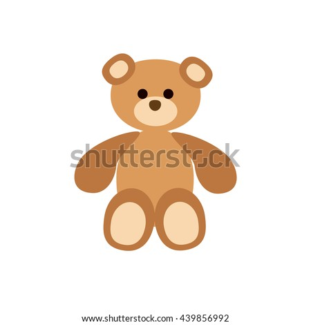 Teddy bear  flat icon. Vector baby toy silhouette illustration. Concept of teddy bear silhouette. Colorful teddy bear icon for your design. Flat baby toy icon silhouette isolated.  - stock vector