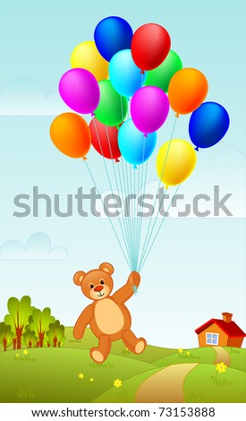 Teddy bear flying on a group of balloons