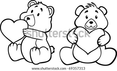teddy bear hugging heart, black and white version - stock vector